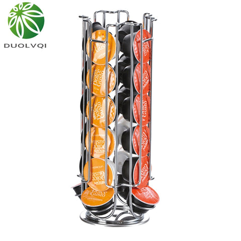 Duolvqi Useful Coffee Pod Holder Iron Chrome Plating Stand Coffee Capsule Storage Rack for 24pcs Dolce Gusto Capsule