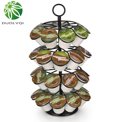 Duolvqi Coffee Pod Holder Rotating Dispenser Coffee Capsules Tower Stand For 36pcs K-CUP/Dolce Gusto/Caffitaly Coffee Capsules