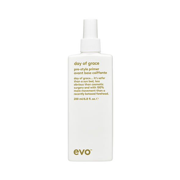EVO Day of Grace Pre-Style Primer 6.8 oz. vegan / cruelty free / made without sulfates, parabens or gluten. This lightweight leave-in primer to prepare hair for styling. This spray will lightly conditions and prepare hair for styling, while helping provide protection from uv and heat damage.