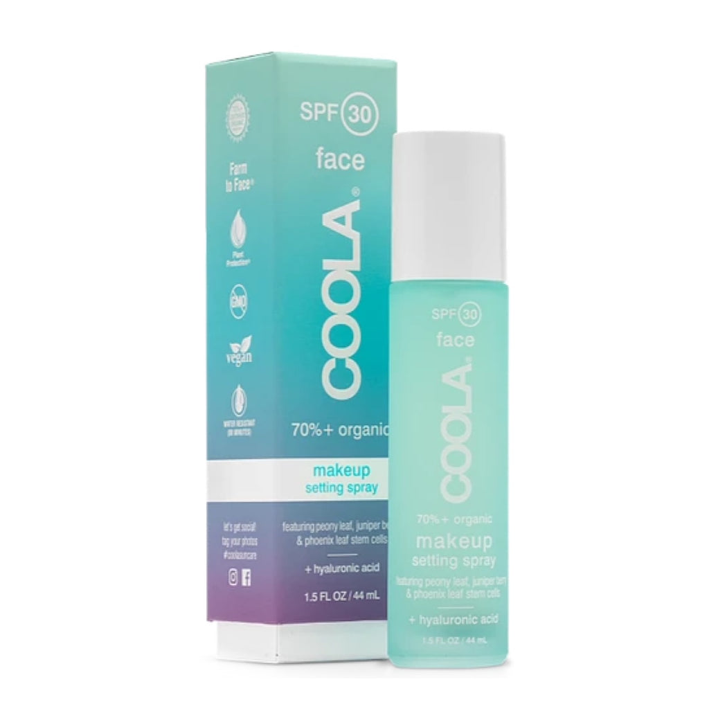 Shop Coola Makeup Setting Spray. It's organic formula will keep you hydrated and your skin fresh all day.