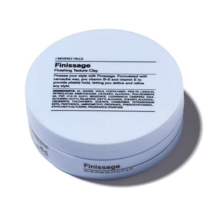 J Beverly Hills Finissage 2.5oz in Canada. Finesse your style. Formulated with carnauba wax, pro vitamin B-5, and vitamin E, Finissage adds pliable hold, letting you define and refine any style. Finishing clay Semi gloss finish with a medium hold factor.