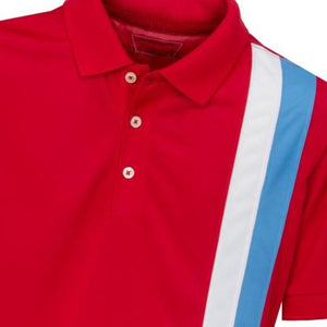 Boys' Golf Polo Shirt, Gianni Striped Polo Red - everyshotcounts