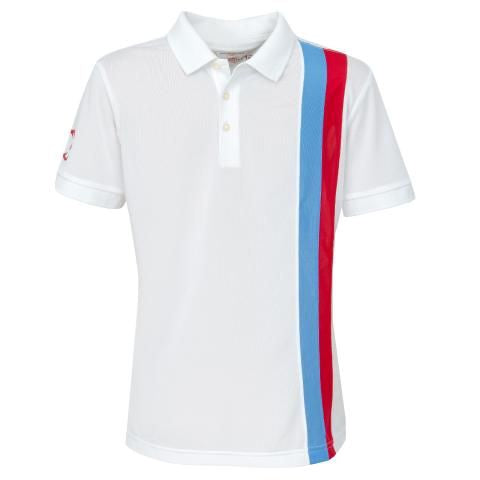 Boys' Golf Polo Shirt, Gianni Striped Polo White - everyshotcounts