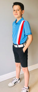 Boys' Polo Shirt, Gianni Striped Polo Blue - everyshotcounts