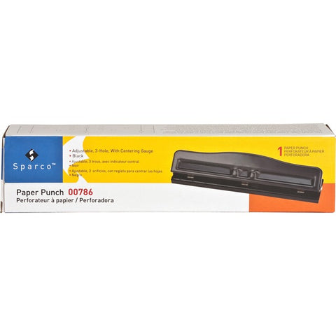 Sparco Products Adjustable 3-Hole Punch