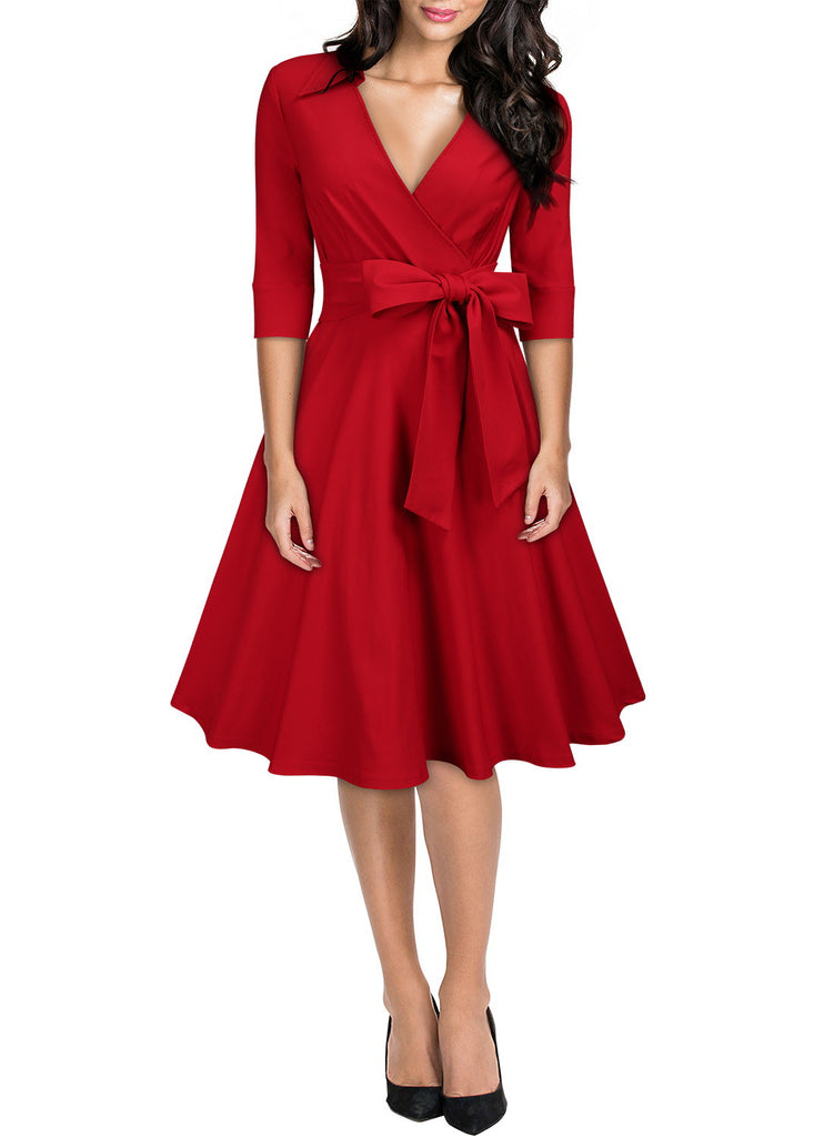 French Style Bow Swing Dress