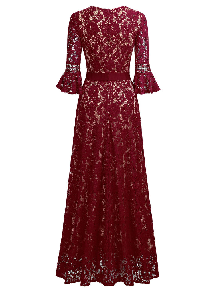 Full Lace Bell Sleeve Long Dress - Aisize - New Vintage Simplified Design