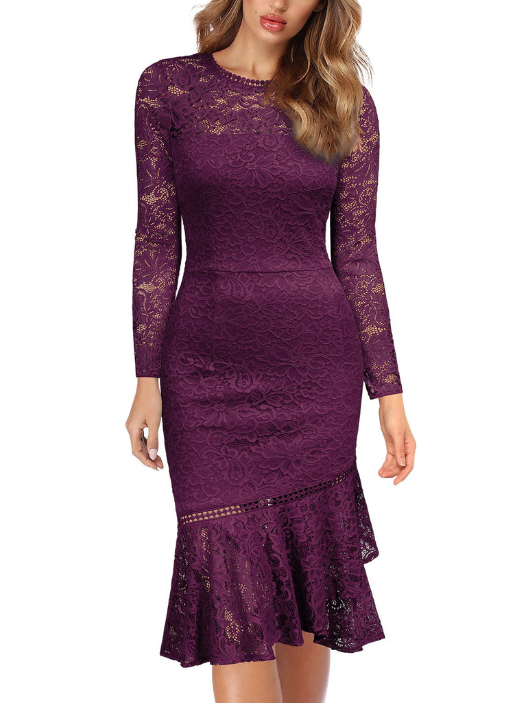 Floral Lace Long Sleeve Dress - Aisize - New Vintage Simplified Design