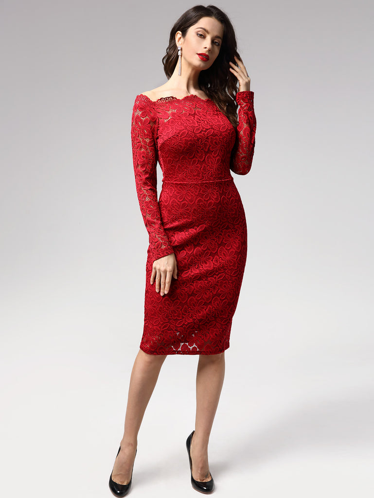Off-shoulder  Long Sleeves Lace Bodycon