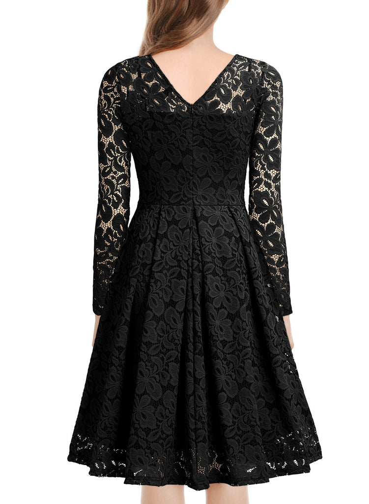 Floral Lace 2/3 Sleeves Swing Dress - Aisize - New Vintage Simplified Design