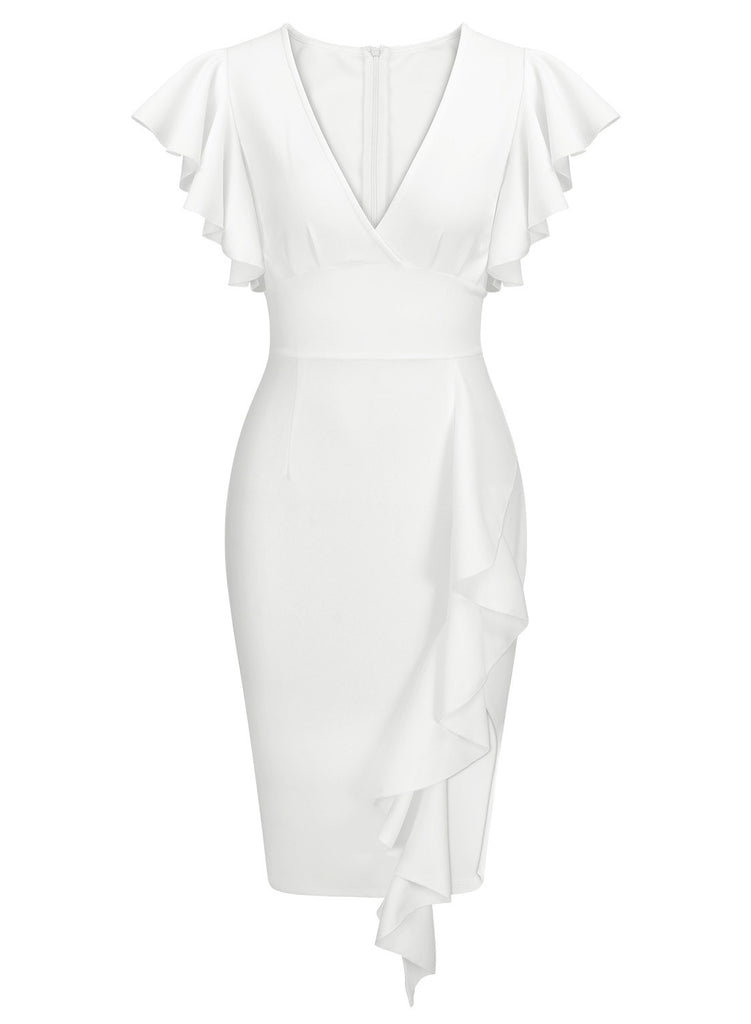 Women's Deep-V Neck Ruffle Sleeves Cocktail Party Dress - Aisize - New Vintage Simplified Design