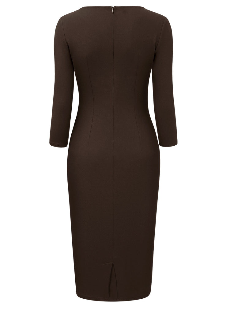 Ruffles 2/3 Sleeve Pencil Dress - Aisize - New Vintage Simplified Design