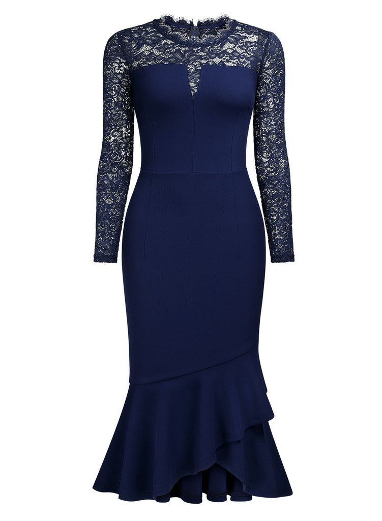Floral Lace Evening Nightout Party Slim Dress - Aisize - New Vintage Simplified Design
