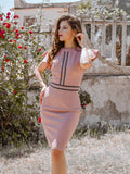 Ruffled Sleeves Stripe Decoration Bodycon