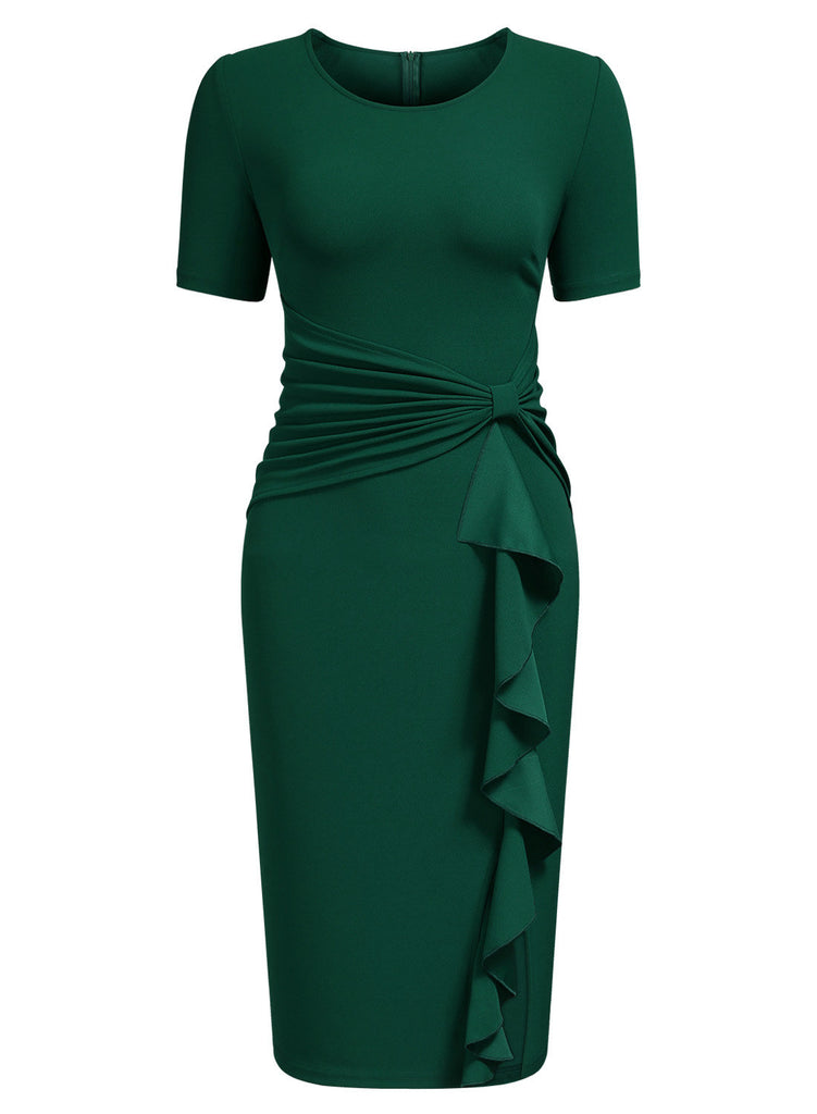 Ruffle Draped Cocktail Knee Dress - Aisize - New Vintage Simplified Design