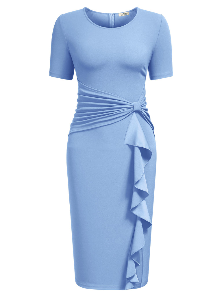 Ruffle Draped Cocktail Knee Dress