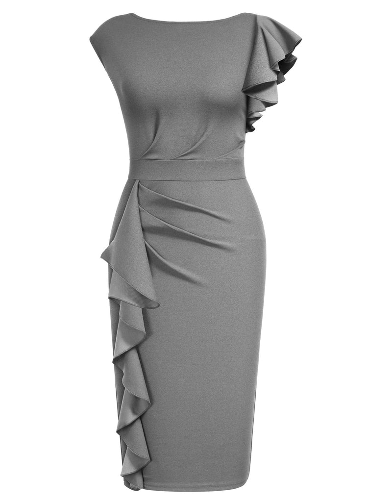 Ruffle Cap Sleeves Pencil Dress - Aisize - New Vintage Simplified Design