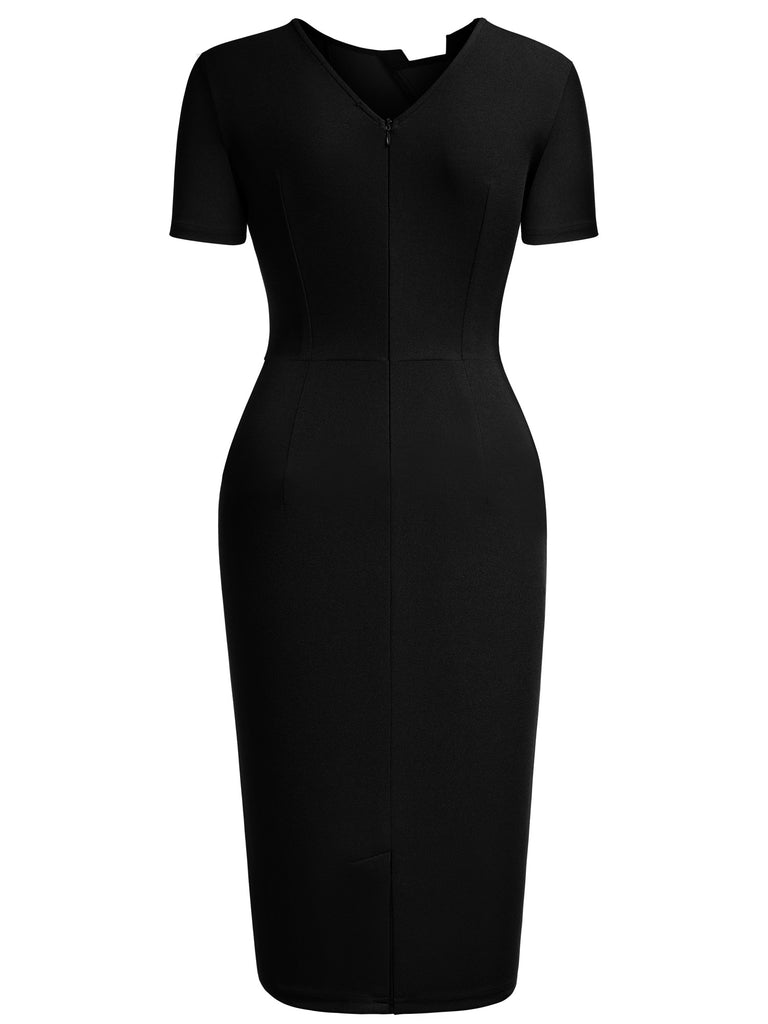 Pleated Round Neck Bodycon Dress - Aisize - New Vintage Simplified Design