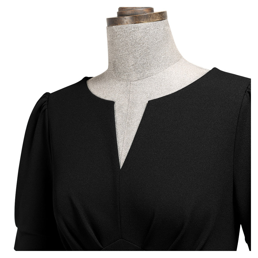 Puff Sleeve V-Neck Cocktail - Aisize - New Vintage Simplified Design