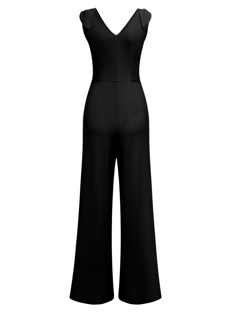 V-Neck Sleeveless Jumpsuit - Aisize - New Vintage Simplified Design