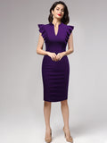 Ruffle Sleeves Half Collar Bodycon