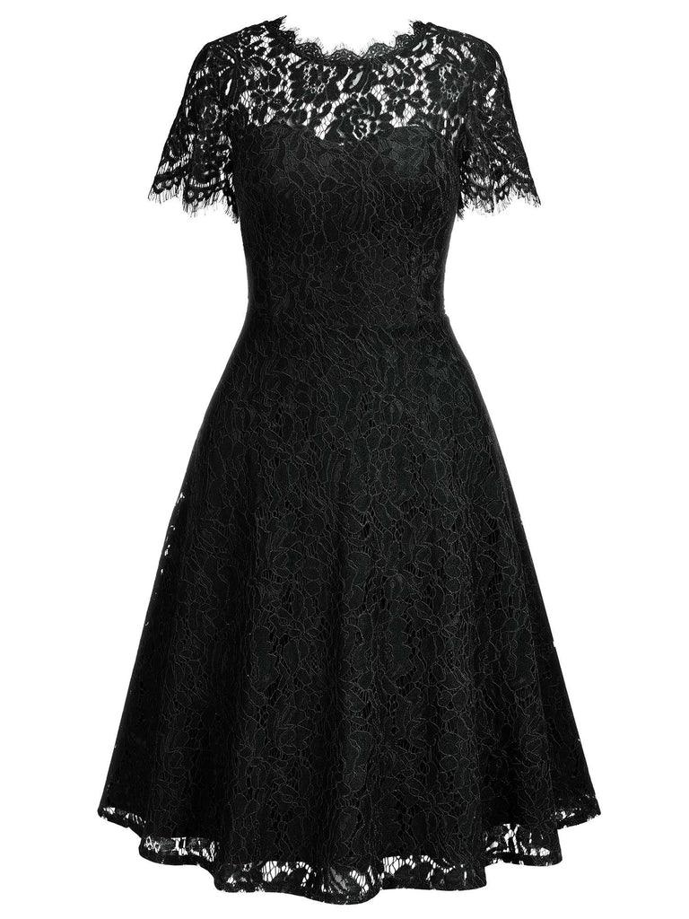 Short Sleeves Lace Swing Dress
