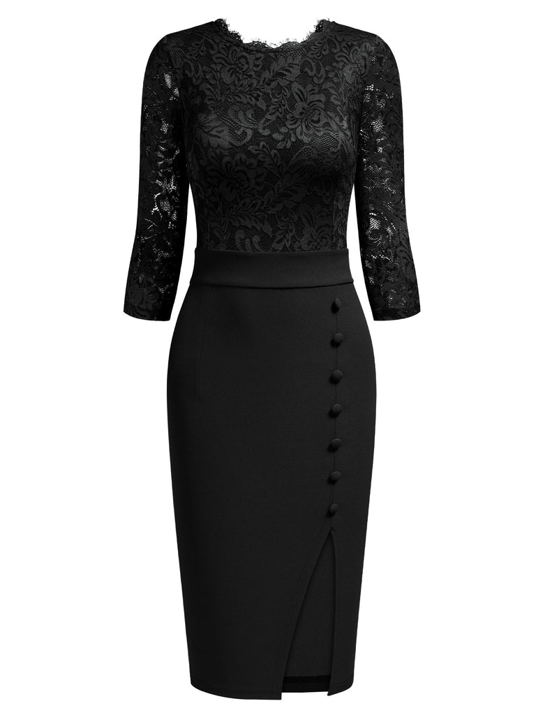 Lace Button Pencil Dress