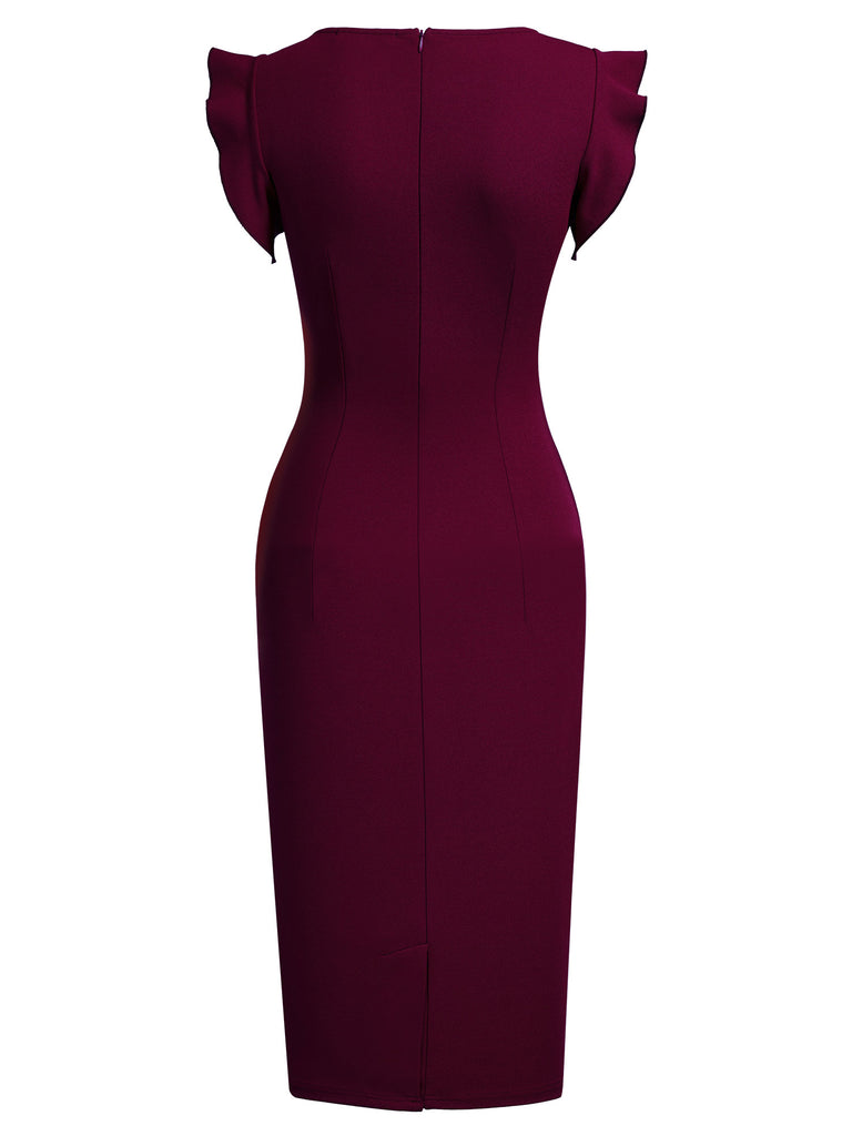 Ruffle Sleeves Pencil Dress
