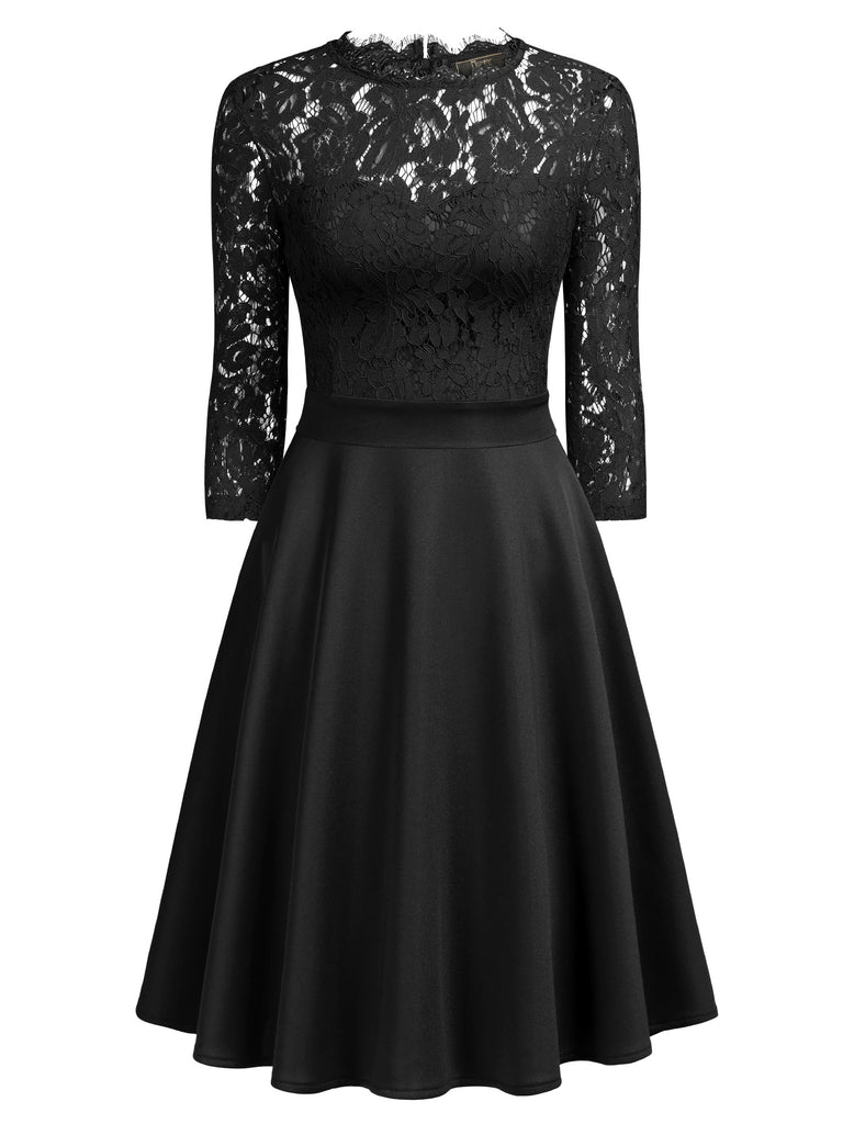 Lace Nack Long Sleeves Dress