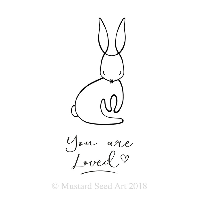 You are Loved Sweet Little Bunny Modern Minimal Affirmation Nursery Wall Art Print