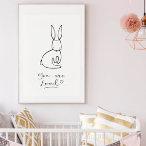 You Are Loved Little Rabbit Modern Monochrome Nursery Wall Art Print
