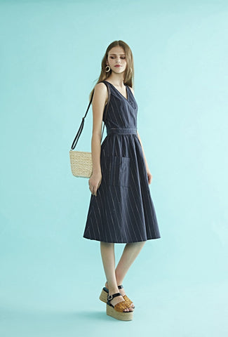 Bonsui Stripe Belted Dress  $ 235.00 CAD at Harvest Beauty Imported 55%Linen 45% Cotton