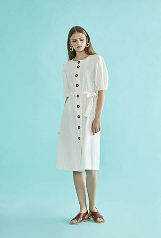 Button Belted Dress  $ 225.00 CAD Imported 100% linen