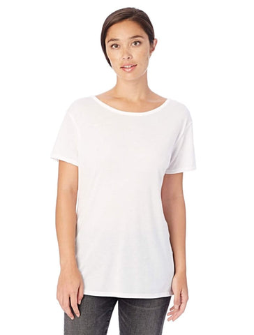 CROSS BACK SLINKY JERSEY T-SHIRT in White - Harvest Beauty