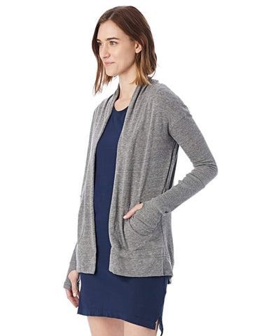 RIB SLEEVE ECO-JERSEY WRAP in GREY - Harvest Beauty