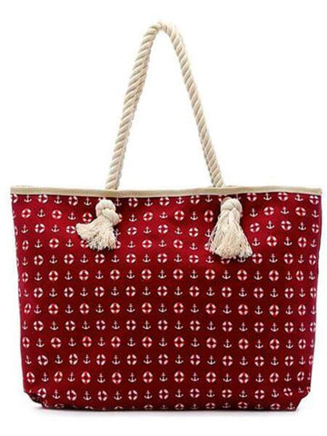 HARVEST CANVAS TOTE BEACH BAG Nautical Print - Harvest Beauty