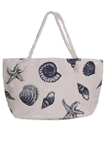 HARVEST CANVAS TOTE BEACH BAG SEA SHELLS PRINT - Harvest Beauty