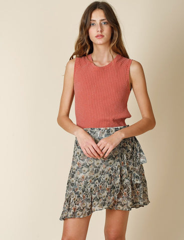 Floral Print Chiffon Mini Wrapped Skirt with Ruffles