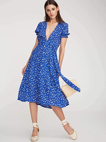 FARAH DRESS BETINA FLORAL COBALT