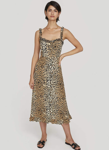 THIS IS A MIDI LENGTH SLIM FIT DRESS ON A LEOPARD PRINT WITH FRILL DETAIL ON STRAPS AND SHIRRING IN THE BACK FOR EASY FIT.