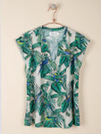 Crepe Blouse with Tropical Print Green Dahlia