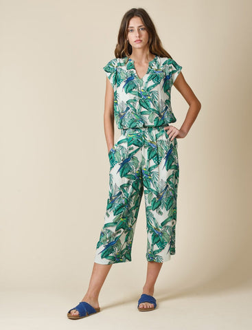 Tropical Printed Crepe Pants Dahlia