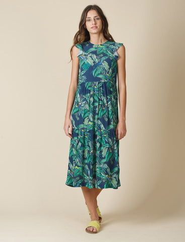 Crepe Dress with Tropical Print Indigo