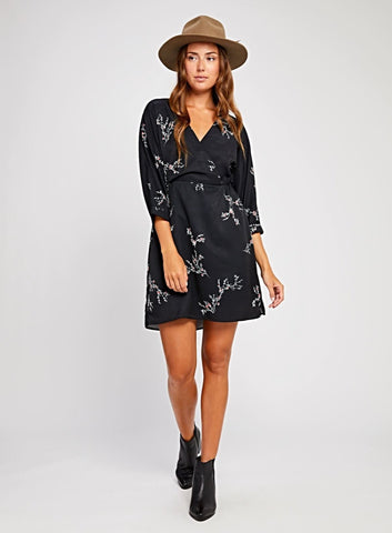 Harper Dress  $ 129.00 CAD  SKU# GF190-8365  Details: 3/4 sleeve dress. Cinched at waist. Model is wearing a size S Fabrication: 100% Polyester