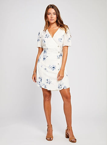 Rafaela Jet Stream Briar Rose Cream Dress  $ 129.00 CAD  SKU# GF190-8368  Details: Short sleeve wrap dress Button detail at side Fully lined Model is wearing a size S Fabrication: 100% Rayon