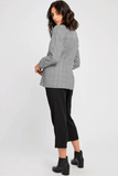 Atlanta Blazer  $ 145.00 CAD  Style#GF190-5114  DETAILS: Semi-fitted blazer. Button enclosure. Fully lined.  Model is wearing a size S  65% Polyester, 33% Rayon, 2% Spandex