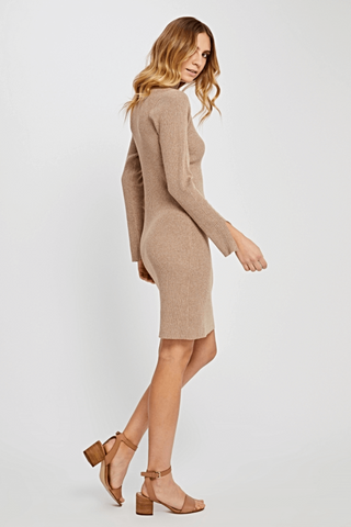 DETAILS Long sleeve sweater dress.  Model is wearing a size S  50% Rayon, 30% Nylon, 20% Polyester