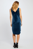 The perfect holiday dress! V-neck, velvet dress. Scoop hem.  Model is wearing a size S.  92% Polyester, 8% Spandex