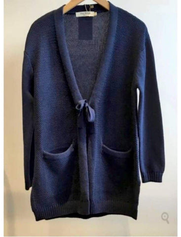 COTTON JACKET WITH BOW TO TIE in Navy Blue - Harvest Beauty