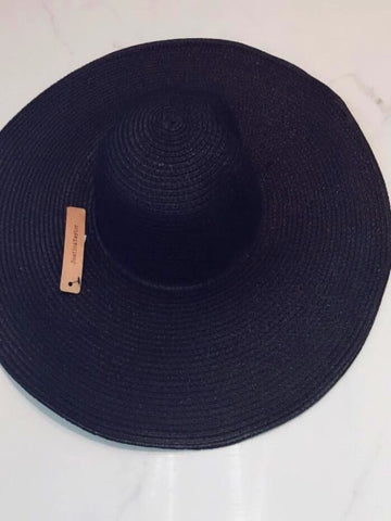 FASHION STRAW SUN HAT in Black - Harvest Beauty